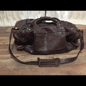 Brown Leather Luggage Overnight Duffel Hand  Made